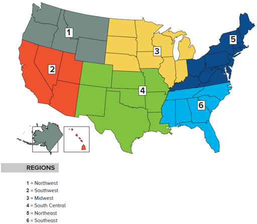 Map of US regions