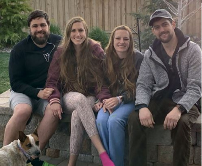 Zach with his siblings and his sisters' dog, Tonks.