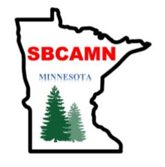 An outline of the state of Minnesota with text SBCAMN Minnesota and a couple trees.